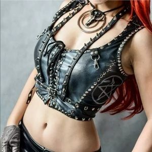 Inverted Pentagram Leather Lace Up Studded Bustier